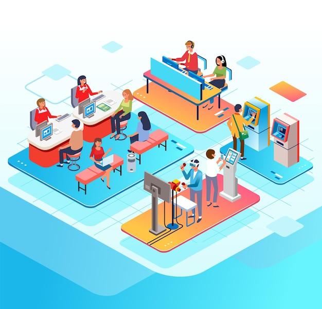 Izometryczna ilustracja działań w banku klienci doradzają w centrum obsługi klienta