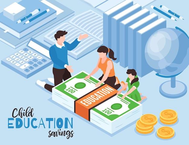 Izometryczna ilustracja edukacji budżetu rodzinnego