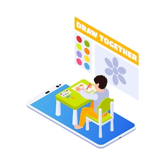 Izometryczna ilustracja edukacji domowej z dziewczyną rysującą na lekcji sztuki online 3d