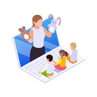 Izometryczna ilustracja edukacji domowej z małymi dziećmi mającymi lekcję online