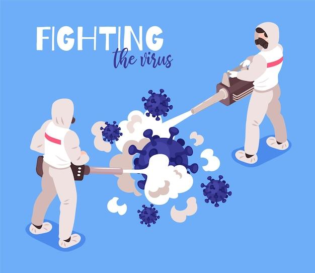 Izometryczna ilustracja epidemii wirusa z personelem medycznym w odzieży ochronnej walczącej z koronawirusem