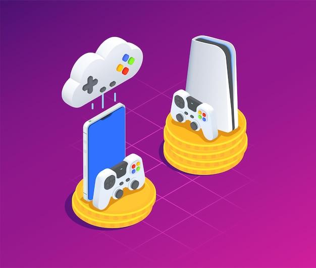 Izometryczna ilustracja gier w chmurze z konsolą i gamepadami