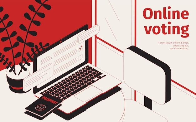 Izometryczna ilustracja głosowania online z miejscem do pracy z laptopem, witryną wyborczą i paszportem