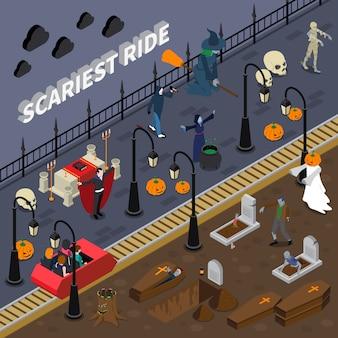 Izometryczna ilustracja halloweenowa przejażdżka