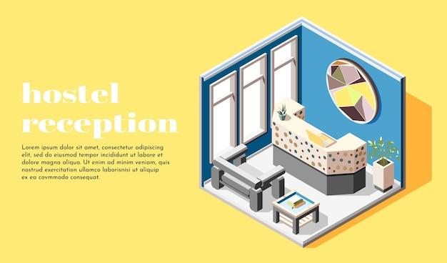Izometryczna ilustracja hostelu z regałem recepcyjnym na spotkanie i rejestrację gości