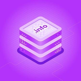 Izometryczna ilustracja hostingu domeny. kategoria informacji o kropkach