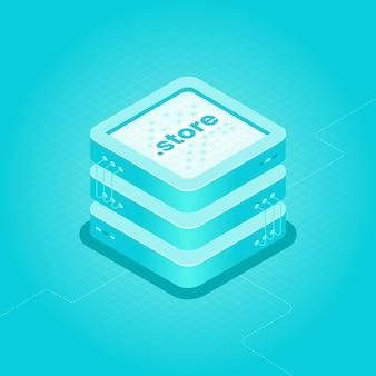 Izometryczna ilustracja hostingu domeny. kategoria sklepu kropkowego