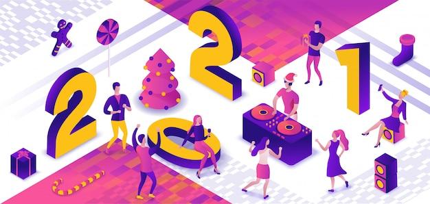 Izometryczna ilustracja imprezy tanecznej nowego roku 2021, dj grający w dyskotekę podczas imprezy nocnej