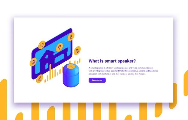 Izometryczna ilustracja inteligentnego głośnika i cyfrowego asystenta głosowego automatyki domowej
