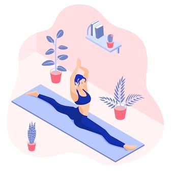 Izometryczna ilustracja jogi robi szpagat w domu przy roślinach doniczkowych
