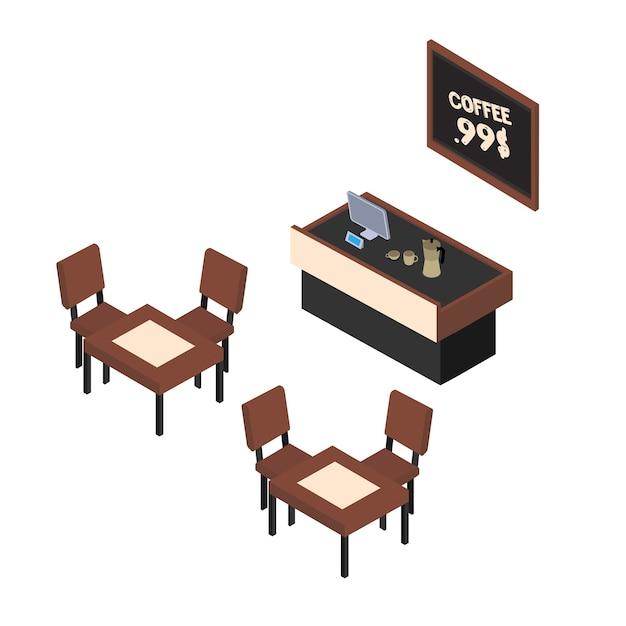 Izometryczna ilustracja kawiarni, lada kawiarniana, stoły z krzesłami na białym tle clipart.