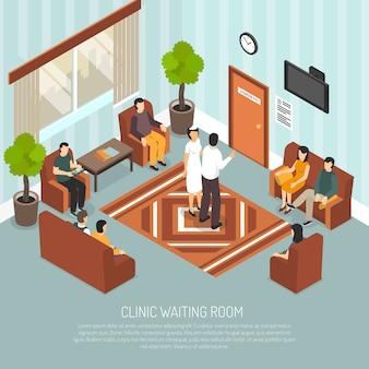 Izometryczna ilustracja kliniki poczekalni