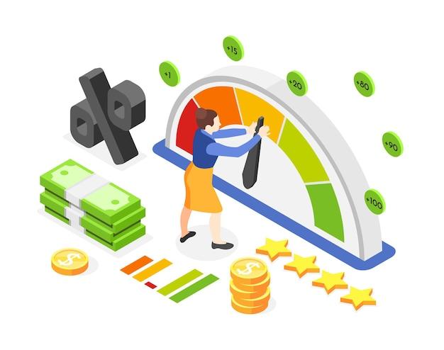 Izometryczna ilustracja kobiety z miernikiem wskazującym, pieniędzmi i oceną kredytową