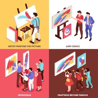 Izometryczna ilustracja koncepcja projektowania galerii sztuki