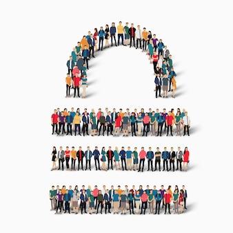 Izometryczna ilustracja koncepcja zatłoczonych ludzi