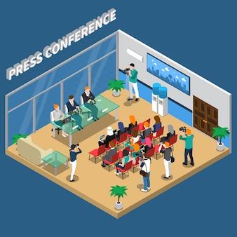 Izometryczna ilustracja konferencji prasowej