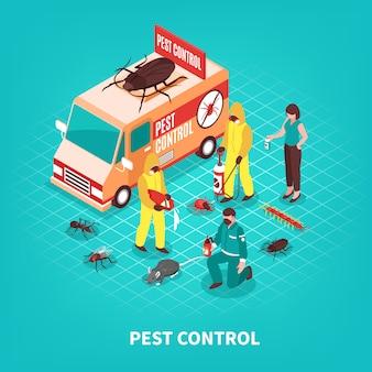 Izometryczna ilustracja kontroli szkodników