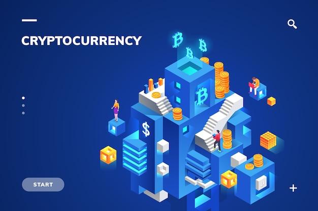 Izometryczna ilustracja kryptowaluty i technologii blockchain, kryptowaluty i bloku finansowego, cyfrowej waluty i stosu monet.