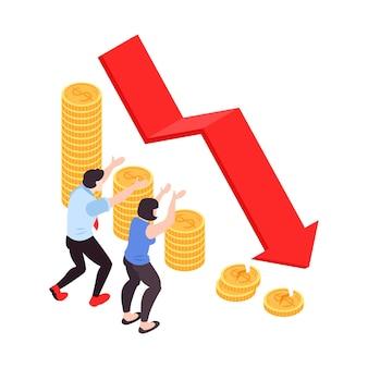 Izometryczna ilustracja kryzysu finansowego ze stosem monet i sfrustrowanymi postaciami obserwującymi spadającą strzałkę 3d