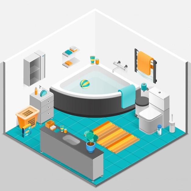 Izometryczna ilustracja łazienki wnętrza
