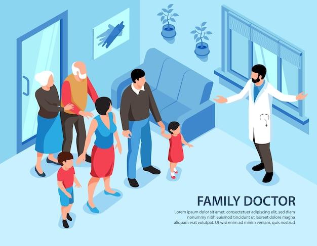 Izometryczna ilustracja lekarza rodzinnego z edytowalnym tekstem i wnętrzem domu z członkami rodziny i specjalistą medycznym