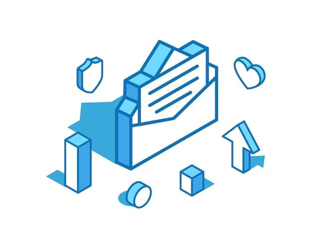Izometryczna ilustracja listu z niebieską linią pozytywna recenzja szablon transparentu 3d wiadomości online