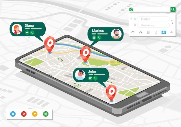 Izometryczna ilustracja lokalizacji i kontaktu osób w aplikacji mapy na smartfonie