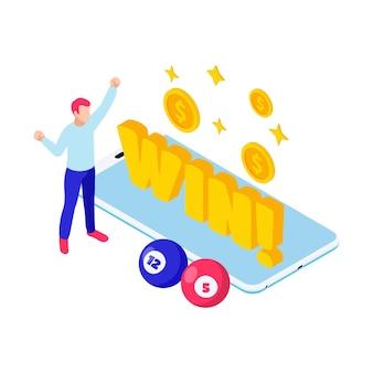 Izometryczna ilustracja loterii z postacią zwycięskich kulek bingo i smartfona