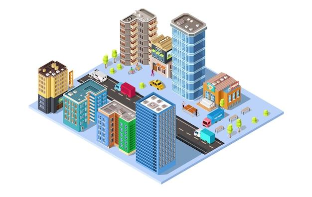 Izometryczna ilustracja miasta z budynkami i innymi obiektami
