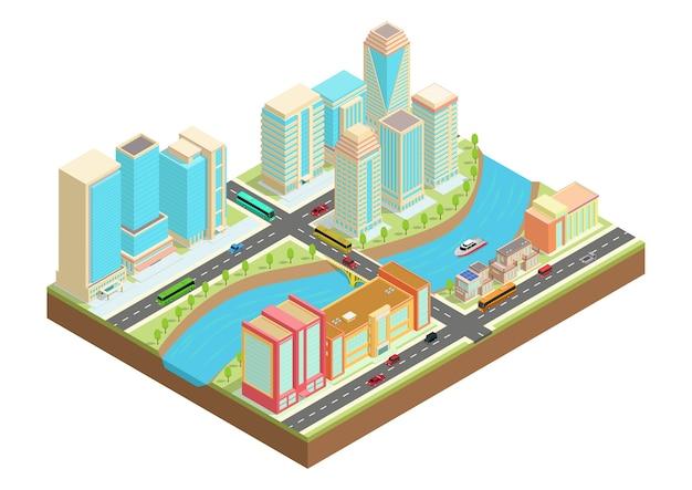Izometryczna ilustracja miasta z rzeką, samochodami, jachtami oraz miejskimi budynkami i domami.