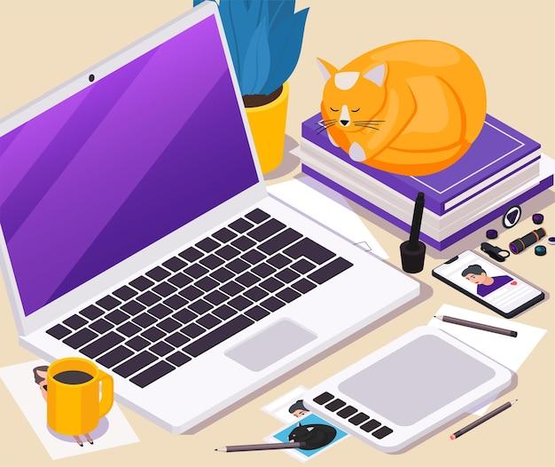 Izometryczna ilustracja miejsca pracy z telefonem komórkowym typu tablet laptop i narzędziami do robienia zdjęć