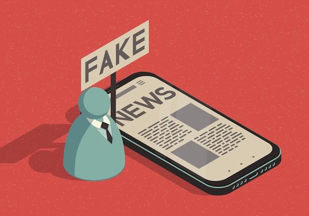 Izometryczna ilustracja na temat fałszywych wiadomości ze smartfonem i abstrakcyjnym mężczyzną