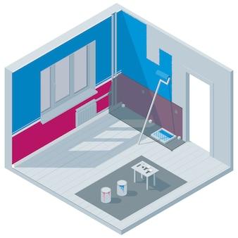 Izometryczna ilustracja na temat remontu pokoju. malowanie ścian.