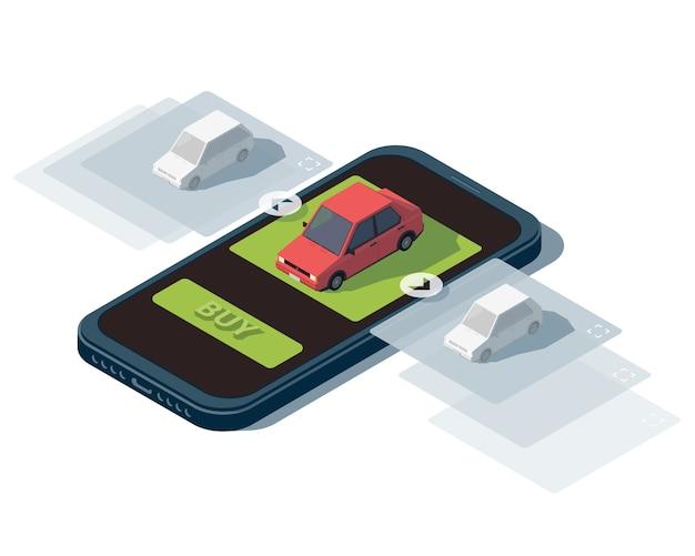 Izometryczna ilustracja na temat sprzedaży samochodów.