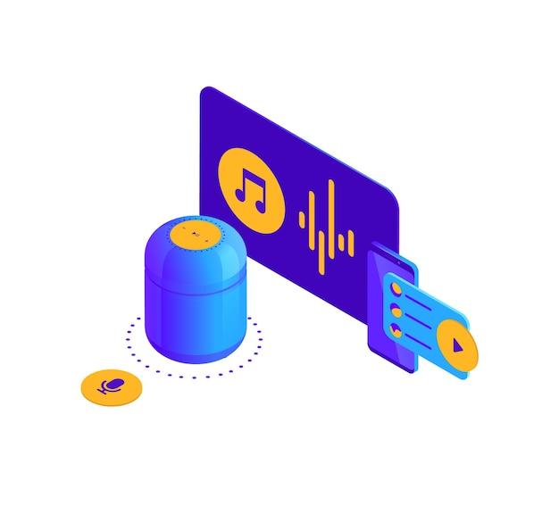 Izometryczna ilustracja niebiesko-fioletowej strony docelowej cyfrowego asystenta głosowego aktywowanej przez inteligentny głośnik
