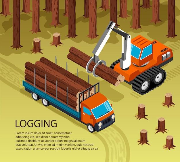 Izometryczna ilustracja obróbki drewna tartacznego w plenerowej scenerii lasu