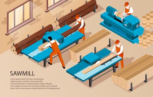 Izometryczna ilustracja obróbki drewna w tartaku z tekstem i pracownikami wewnątrz zakładu produkcyjnego