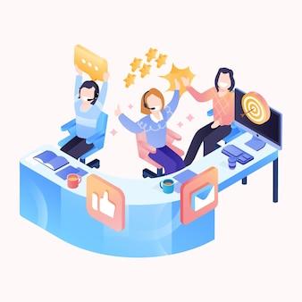 Izometryczna ilustracja obsługi klienta