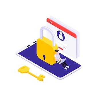 Izometryczna ilustracja ochrony danych z 3d blokady smartfona i kobieta pracująca na komputerze