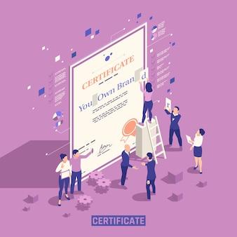 Izometryczna ilustracja oficjalnego certyfikatu