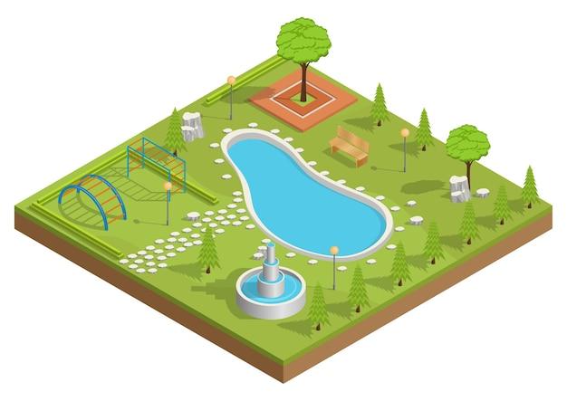 Izometryczna ilustracja parku z basenem i placem zabaw.