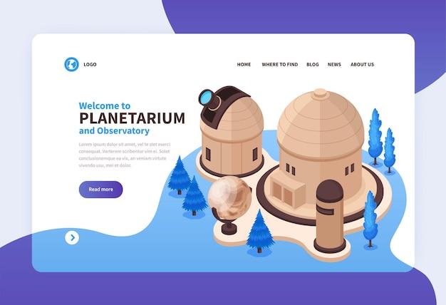 Izometryczna ilustracja planetarium na stronę internetową z budynkami i teleskopem