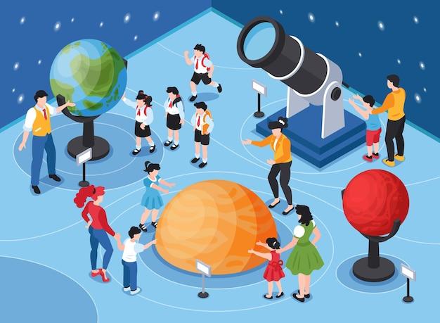 Izometryczna ilustracja planetarium z dorosłymi dziećmi i gwiaździstym niebem z globusami i teleskopem