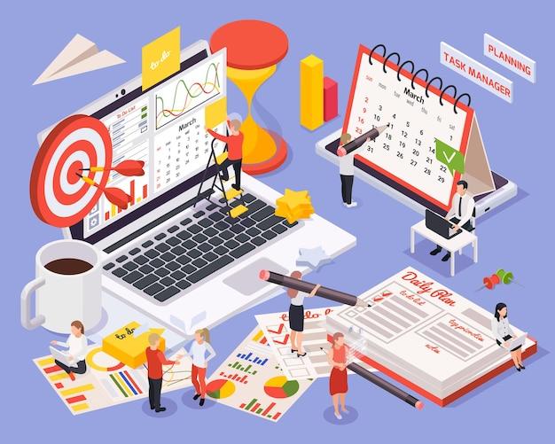 Izometryczna ilustracja planowania zarządzania czasem