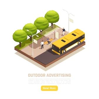 Izometryczna ilustracja plenerowej scenerii z ludźmi na przystanku autobusowym