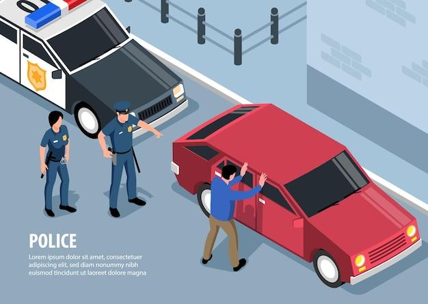 Izometryczna ilustracja policji