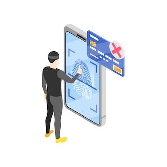 Izometryczna ilustracja postaci hakera i smartfona chronionego technologią rozpoznawania odcisków palców