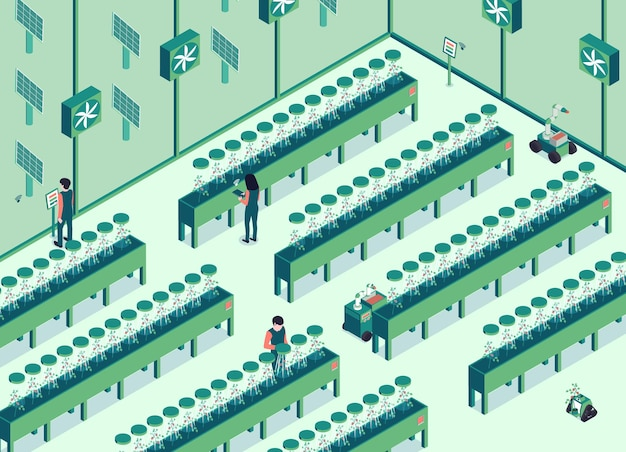 Izometryczna ilustracja pozioma inteligentnej farmy