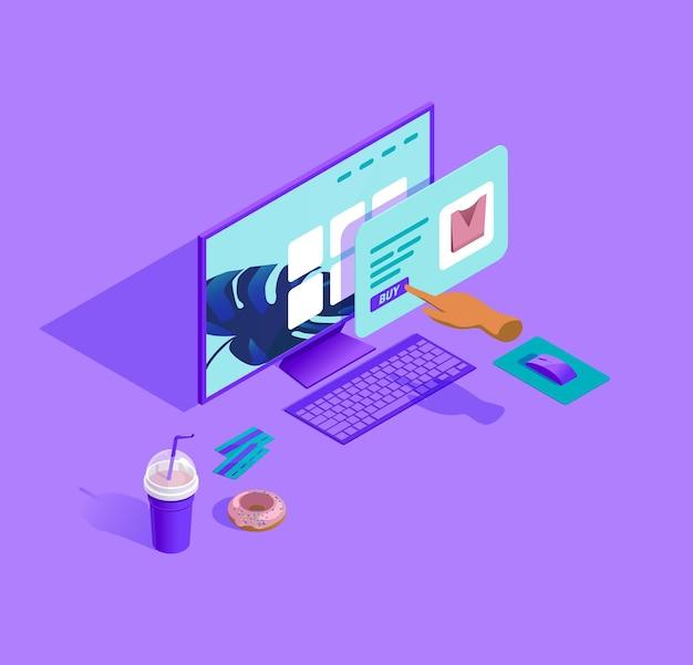 Izometryczna ilustracja procesu zakupów online