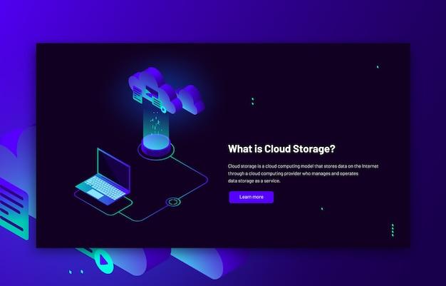 Izometryczna ilustracja przechowywania danych w chmurze przesyłanie synchronizacji transferu danych